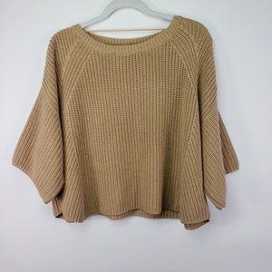 Free People Oversized Tan Sweater Top Size Small